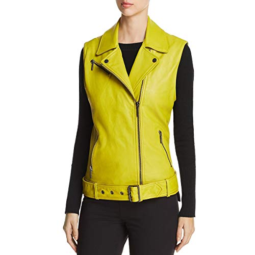 Kenneth Cole Women's Washed Bright Green Moto Vest, Canary, S