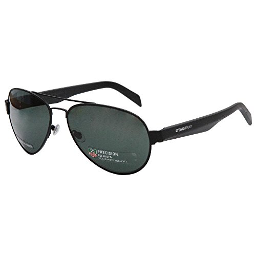 TAG Heuer B-Urban 0585 301 Polarized Aviator Unisex Sunglasses Matte Black - Heuer Polarized Tag Sunglasses