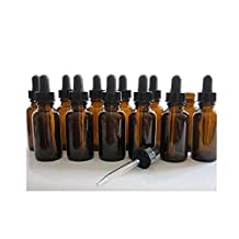 12PCS 20ml 0.67oz Empty Refillable Ambe Glass Essential Oil Bottle Vial Container with Glass Pipette Dropper