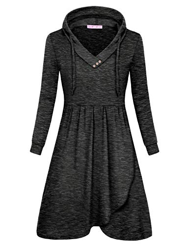 JOYMOM Long Sleeve Dresses for Women,Feminine V Neck