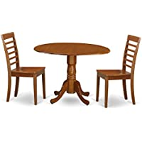 East West Furniture DLML3-SBR-W 3-Piece Kitchen Table Set, Saddle brown Finish