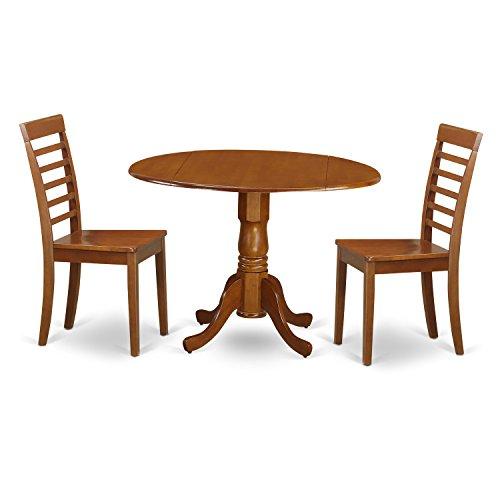 East West Furniture DLML3-SBR-W 3 Pc Kitchen Table Set-Round Kitchen Table Plus 2 dinette Chairs