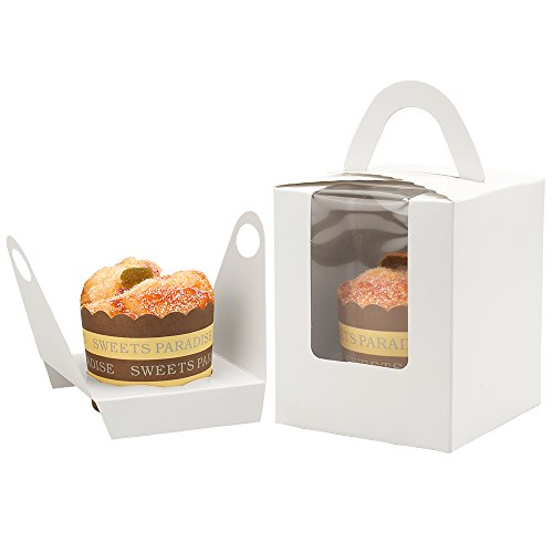 Walk Arrive Cupcake Box Clear Display Window with Strong Handle and Secure Insert Cake Box Bakery Box Cupcake Carrier Cupcake Holder for Baby Shower Wedding Birthday Festival Party (50, White) ()