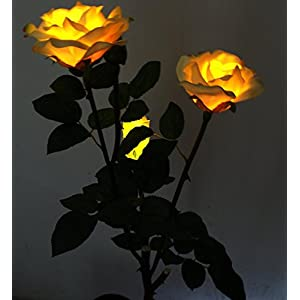 Solar Yellow Rose Flower Lights , Solar Powered Garden Outdoor Decorative Landscape LED Rose Lights Year-round, Great Gift