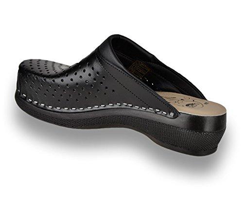 Para Cuero Mujer Negro De Leon Zapatos Zuecos Zapatillas Pu100 UcqvSY