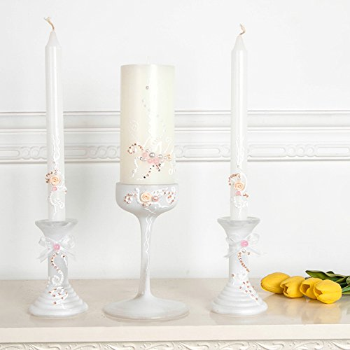 (Wedding memorial candle in white with a glass candleholder, custom personalized memory candle, wedding reception )