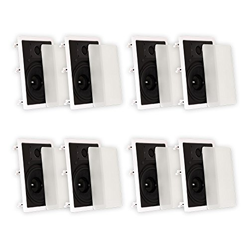 Theater Solutions 4 Pairs of New 8'' In Wall Surround Sound HD Home Theater Rectangular Glass Fiber Speakers 4TSS8W by Theater Solutions