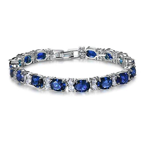 SELOVO Elegant Tennis Link Bracelet Royal Blue Cubic Zirconia Silver Tone