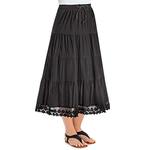 Collections Etc Women's Tiered Skirt with Crochet Trim Hemline and Elastic Waist - Flattering Summer Outfit Piece, Black, Xx-Large ()