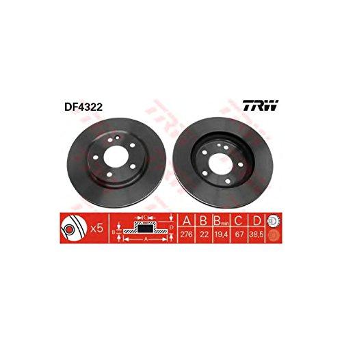 Genuine TRW Vented Brake Discs - Part Number DF4322: