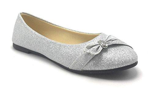 Womens Glitter Sparkle Ballet Rhinestone Flat Ballerina Ladies Evening Slip on Shoe Silver
