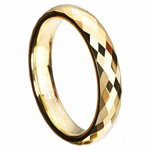 Queenwish 4mm Gold Plated Tungsten Wedding Bands Multi-Faceted Prism Cut Engagement Ring Size 8