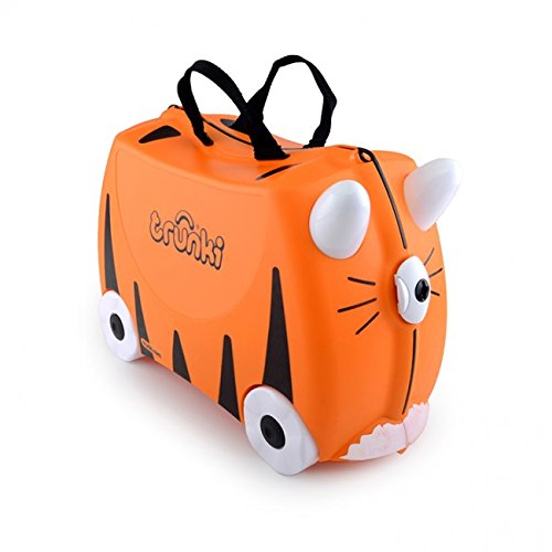 Trunki Original Kids Ride-On Suitcase and Carry-On Luggage - Tipu Tiger (Orange)