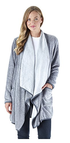 Sleepyheads Women's Sleepwear Fleece Wrap Robe Pockets, Long Sleeve Loungewear Cardigan, Charcoal (SH1450-1011-S/M)