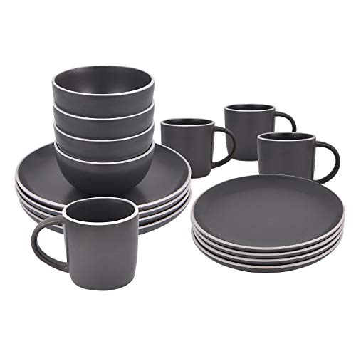 16 Piece Ceramic Dinnerware Set Service for 4, Dark Grey, Dinnerware Sets Including Dinner Plates Dessert Plates Fruit Bowls Mugs Tableware Set for Daily Use