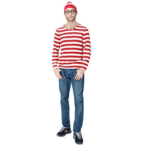 JALYCOS Family Halloween Costume,Red and White Striped Cosplay T-Shirt, Outfit Glasses Hat Shirt -