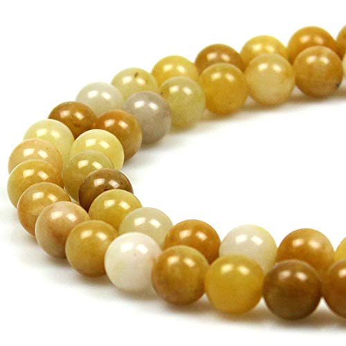 (JARTC Natural Xinjiang Jade Round Loose Beads for Jewelry Making DIY Bracelet Necklace (10mm))