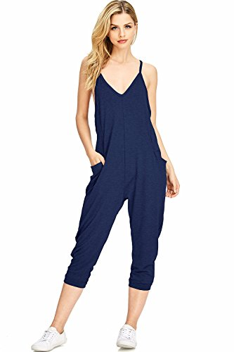 Wasabi & Mint Women's Terry Cloth Cropped Leg Jumpsuit (M, Navy) (Terry Cloth Jumpsuit)