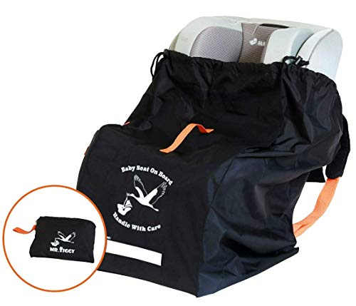 Infant Car Seat Travel Bag by Mr. Ziggy | Waterproof and Extra Durable Cover Bag for Baby Carseats for Flights | Gate Check Carrier Bag with Padded Back Straps for Check-In ()