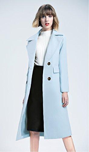 En laine Laine t Double Manteau Col Bleu Clair poitrine significativement Veste Mince Col a d'automne d'hiver Grand Et fdFd6qwA