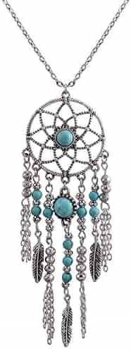 e9815d5e1664c4 CrazyPiercing Retro Silver Tone Chain Necklace, Vintage Dream Catcher  Turquoise Feather Pendant Long Chain Necklace