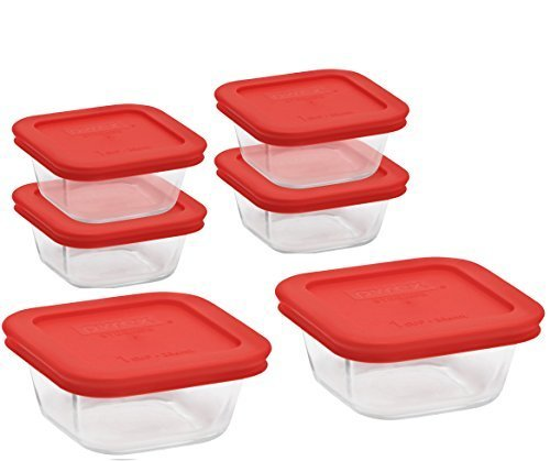 Pyrex Square Glass Food Storage Container set ( includes 6 container:(4) each 1-cup and (2) each 4-cup)