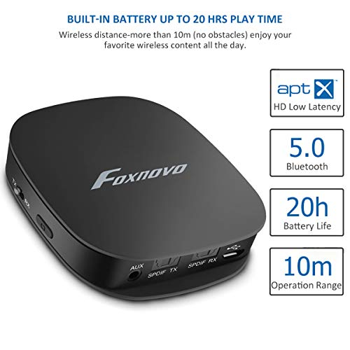 b7c435222f0 Foxnovo Bluetooth 5.0 Audio Transmitter Receiver For TV With Digital  Optical TOSLINK, 2-in-1 Audio Bluetooth Adapter With Aptx Low Latency And  3.5mm Aux ...