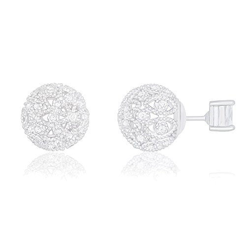 18k White Gold Plated Cubic Zirconia Princess Cut Solitaire Reversible Ball Stud Earrings (0.50 carats)