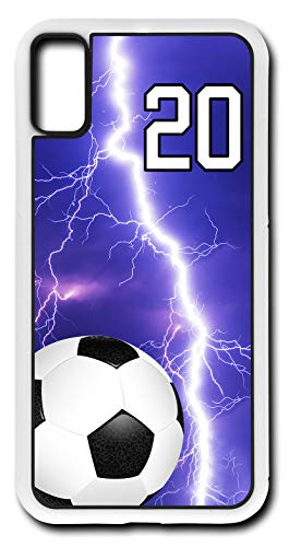 iPhone X Case Soccer SC012Z Choice of Any Personalized Number Phone Case by TYD Designs in White Plastic with Team Player Jersey Number 20