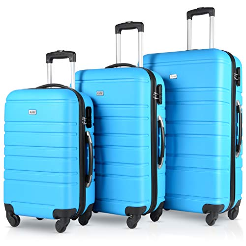 Find Cheap 3 Pcs Luggage Set Hardside Travel Suitcase with Spinner Wheels Lightweight Durable ABS Hardshell 20 24 28 inch
