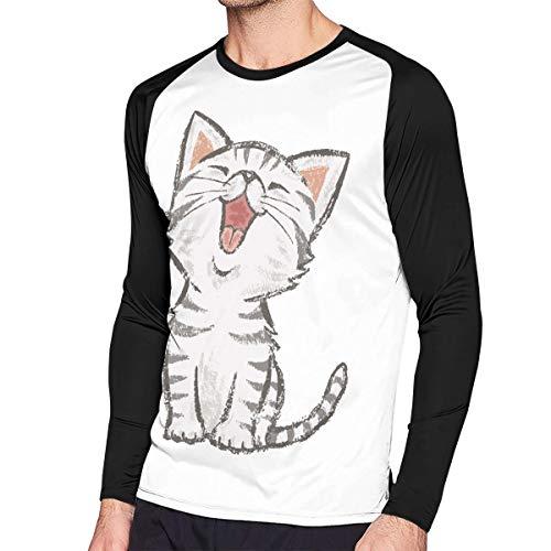 Crazy Popo Men's Casual American-Shorthair-Happy-cat Long Reglan Jersey T Shirts