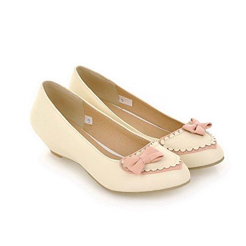 Balamasa Dames Compensées À Taille Basse Et Empiècements Assortis Couleur Uréthane Flats-chaussures Beige