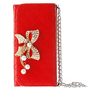 Mini - Pouches Look Grid Pattern and Pearl Bowknot Covered Full Body Case for iPhone 5/5S Color: Red