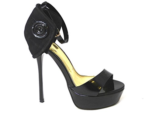 LADIES WOMENS LOW MID HIGH HEEL ANKLE STRAP SLIP ON COURT SHOES PUMPS SANDALS SIZE (UK6/EUR39/US8, Black (058-f8))