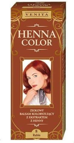 Henna Color 8 Rubin Bálsamo Capilar Tinte Para Cabello Efecto De Color Tinte De Pelo Natural Gallina Eco
