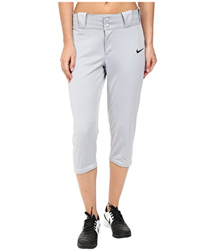 Softball Uniforms Womens - NIKE Women's Diamond Invader 3/4 Pants, Wolf Grey/Black, Medium