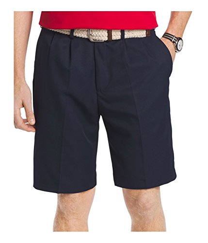 IZOD Men's Double Pleat Solid Microfiber Short, Midnight, 30W by IZOD