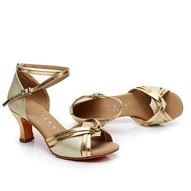 Nos Ouro Artificial Latina sapatos 9 Prata Prata Eu De Uk7 Cn41 Cubano Dança Xiamuo Senhoras Personalizáveis Couro Calcanhar 40 RqOgOP