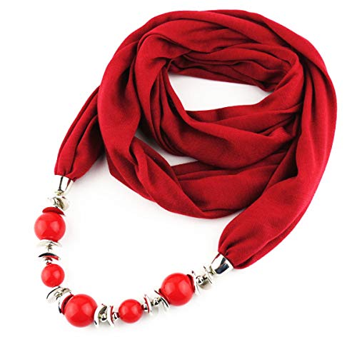 Fasbys Women's Unique Scarf, Classic Style Chiffon Necklace Sash Scarf with Jewelry Pendant (Wine Red 8) (Women Pendant Red Scarf)
