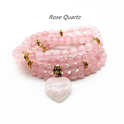 Zozu Natural Stone Beads Bracelets Elastic 74 cm Mala Yoga Necklace Labradorite Amazonite Heart Charm Drop Shipping (rose quartz gold)