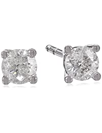 10k White Gold Round-Cut Diamond Stud Earrings (1/4 cttw)