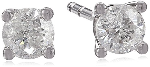 10k White Gold Round Diamond Stud Earrings (1/4 cttw, J-K Color, I2-I3 Clarity)