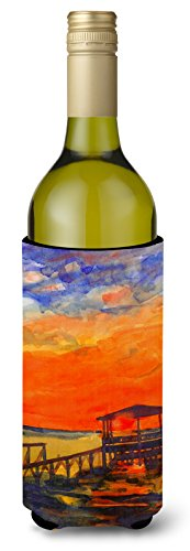 Sunset Dock - Sunset at the Dock Wine Bottle Beverage Insulator Beverage Insulator Hugger