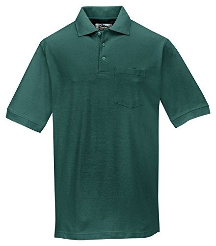 Tri-Mountain 189 Mens cotton baby pique pocketed golf shirt - Forest Green - XLT