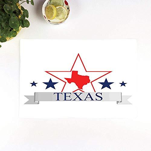 Juego de 4 Manteles Individuales,Antideslizantes, Texas Star, San Antonio Dallas Houston Austin ,Manteles Individuales Lavables Salvamanteles Individuales Resistentes para la Mesa de Comedor de Cocina