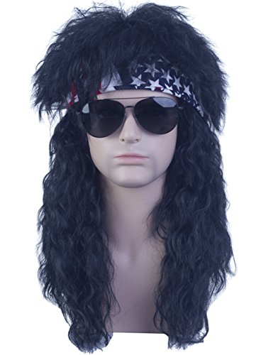 Price comparison product image Angelaicos Unisex Long Black Mullet Wig 70s 80s Vintage Retro Rocking Punk Wavy Fluffy Dude Wigs Bandana
