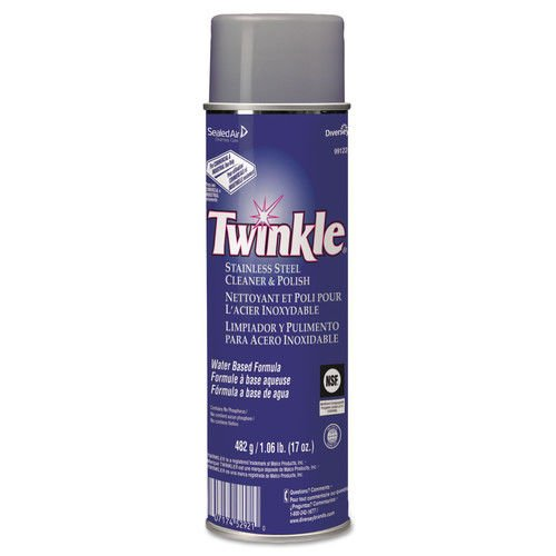 Twinkleamp;reg; - Stainless Steel Cleaner amp;amp; Polish, 17 oz. Aerosol - Sold As 1 Each - Water-based formula removes grease, dirt, fingerprints, smudges and water marks from stainless steel, brass, aluminum and chrome.