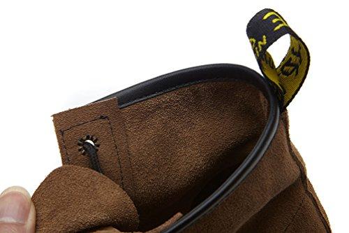 Abby 903-8 Kvinna Komfort Platt Arbete Jobb Platta Cowhells Yttersula Snörning Läder Bekämpa Vintern Martin Stövlar Kamel