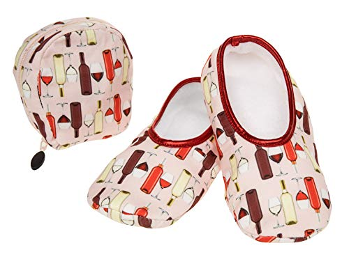 Snoozies with by Matching Slippers Travel Sizes Patterns Pouch Skinnies 3 Ladies Wine 6 Design Agwxndx5Eq