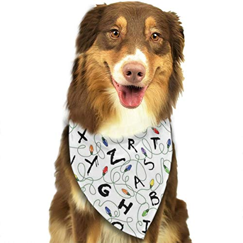ROCKSKY Dogs Cats Pets Animals Bandanas, Stranger Letter Things White, Triangle Wedding Dog Bandana Bandana Kerchief Fashion Neck Tie Scarf Neckerchief Suit for Girls Boy Unisex Pets]()